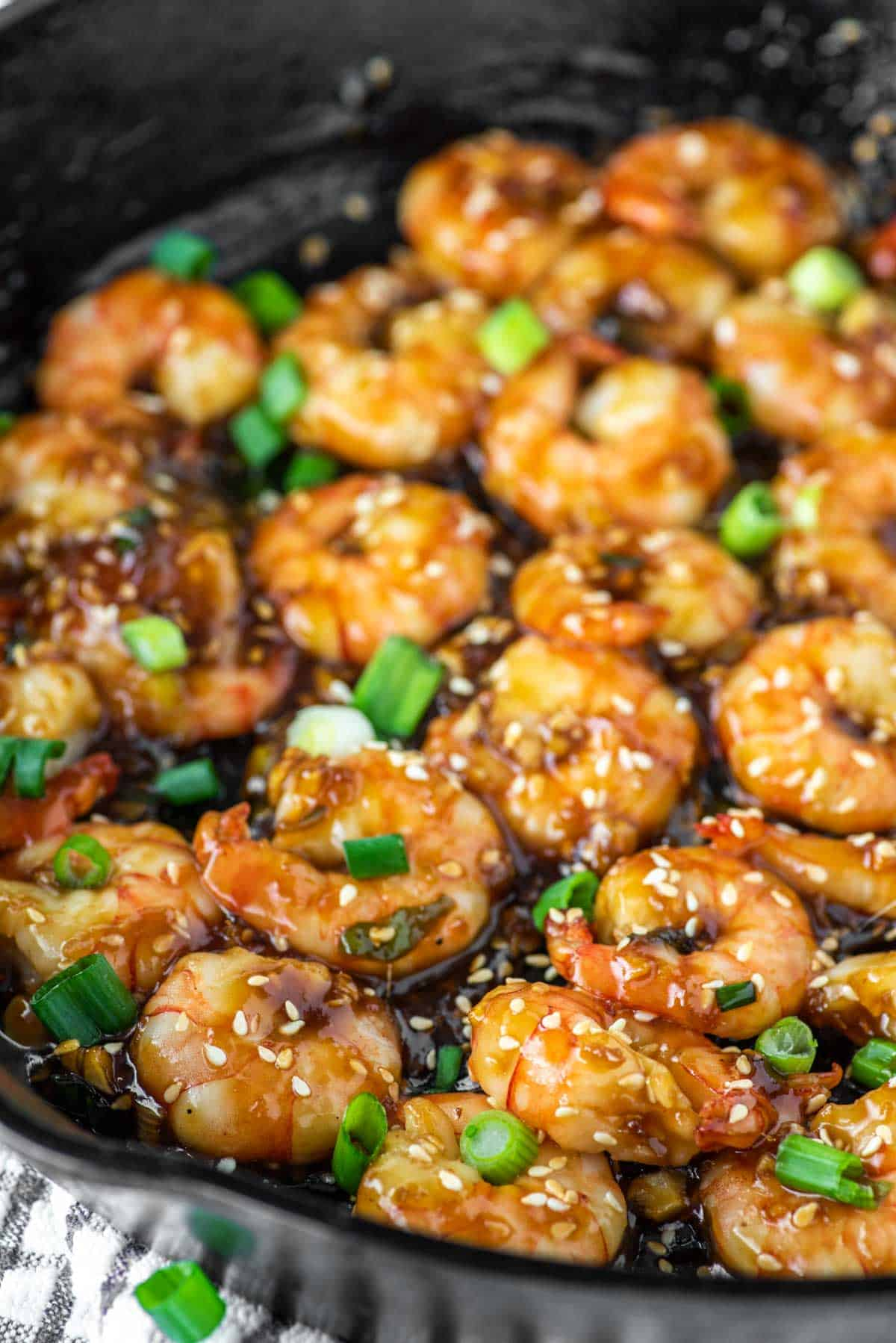 teriyaki shrimp in skillet