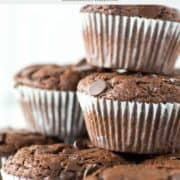 a stack of chocolate muffins