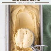 overhead shot of baileys ice cream in metal bread pan