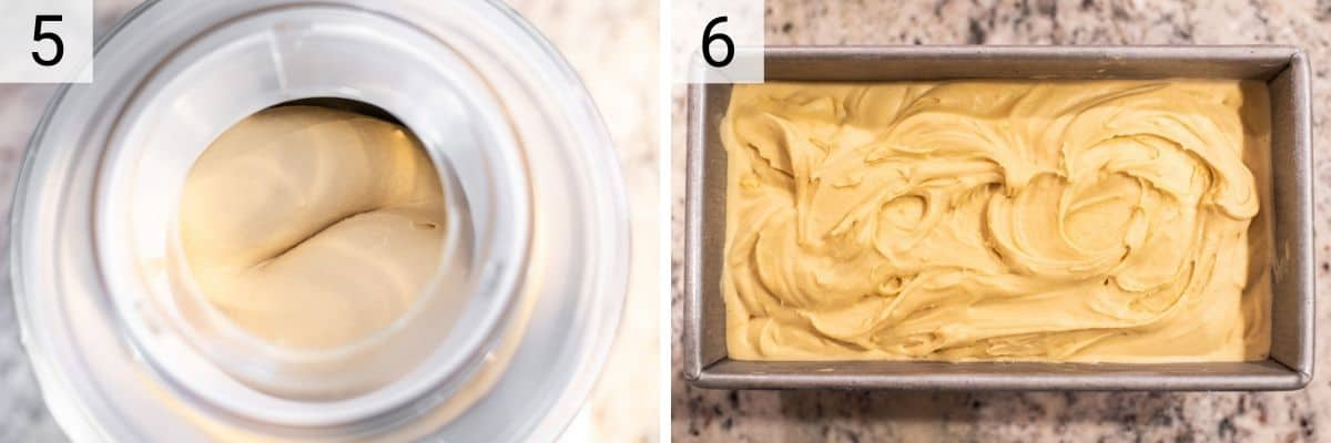 ice cream in ice cream maker and then transferred to metal tin