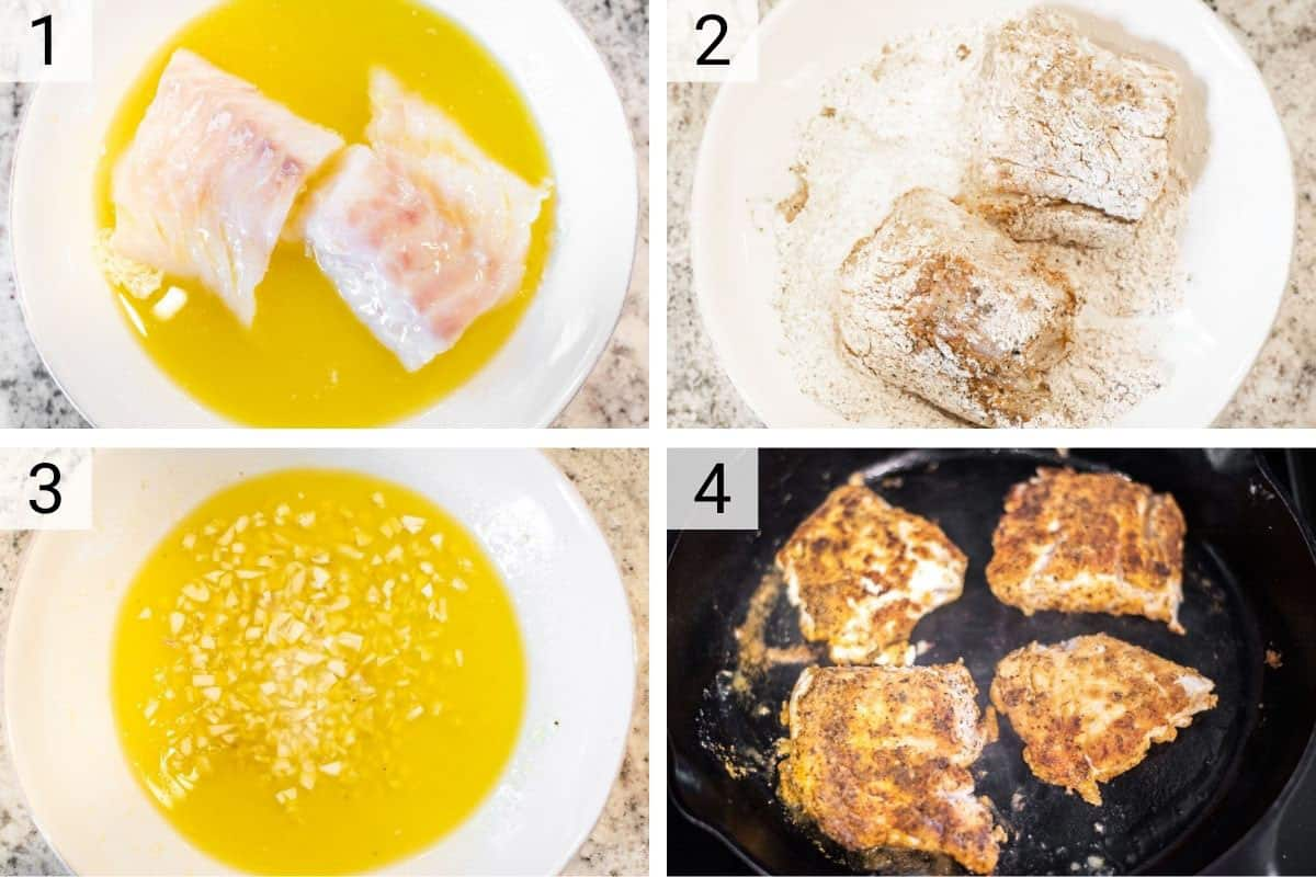 process shots of dipping cod in lemon mixture and then cooking in skillet