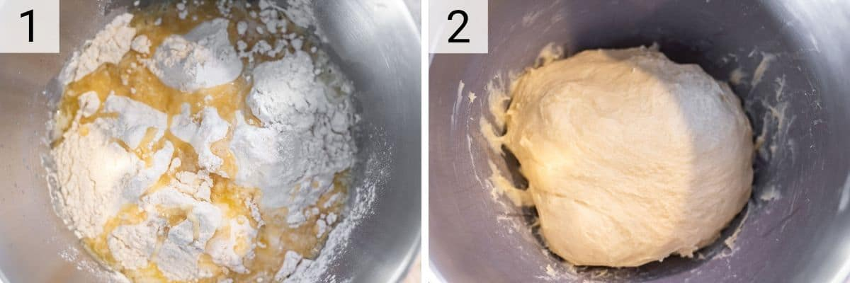 process shots of making brioche dough