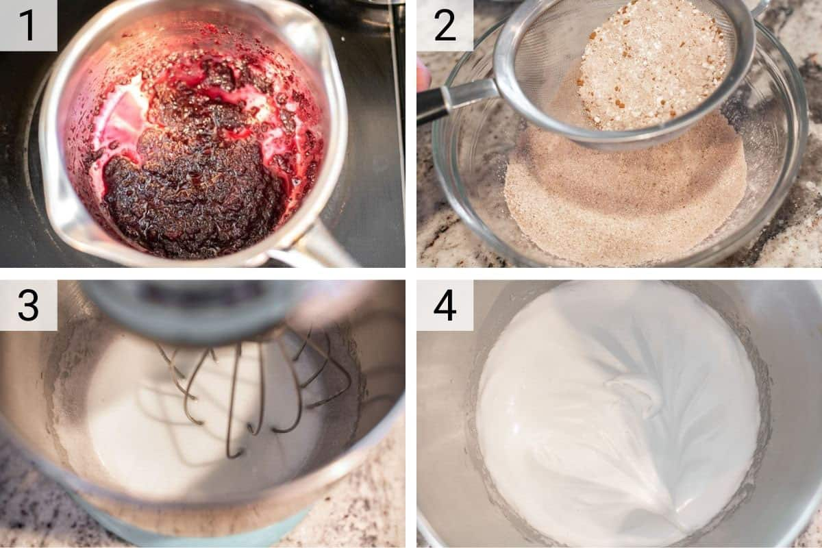 process shots of making cherry jam, filtering almond flour and whipping egg whites