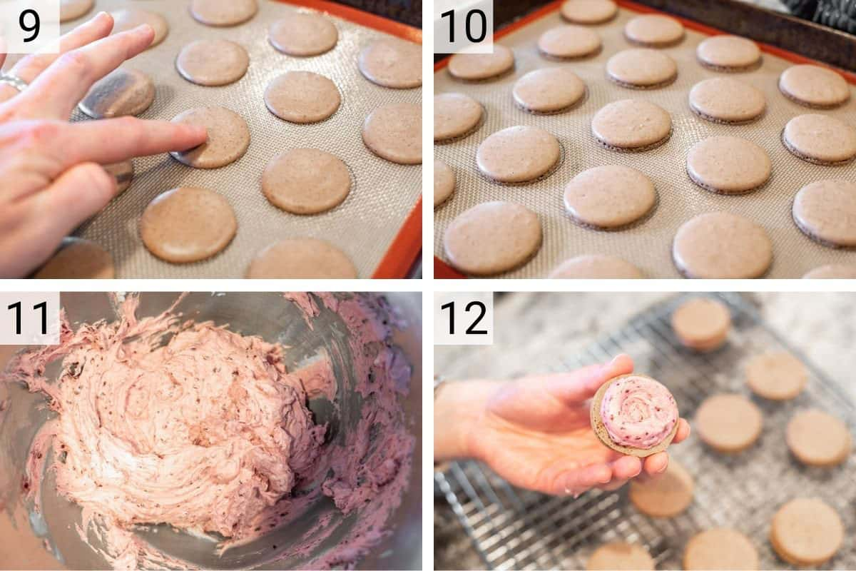 process shots of making macarons, making buttercream and filling them