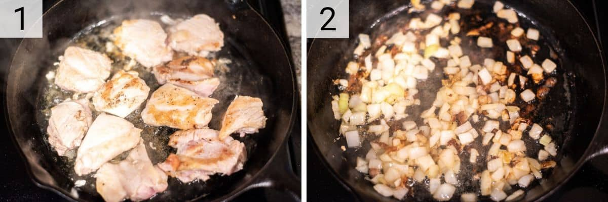 process shots of cooking chicken in skillet and then cooking onions
