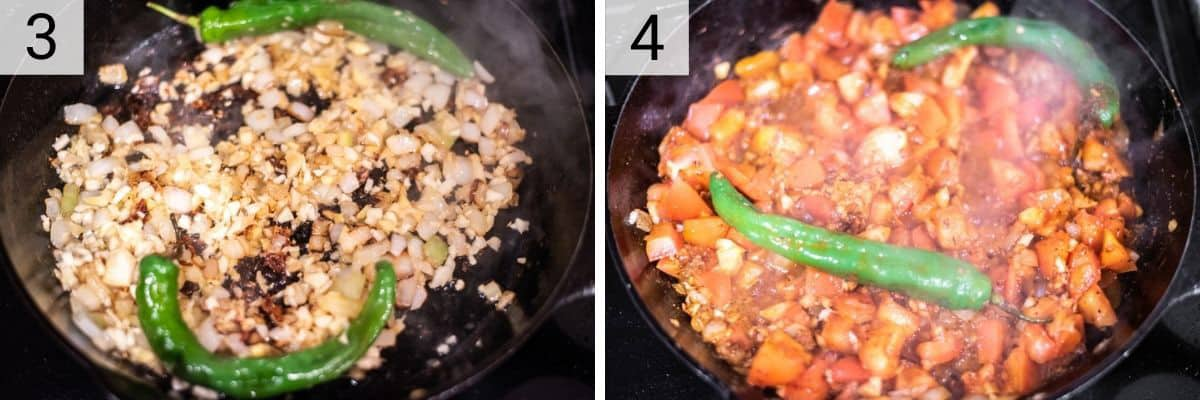 process shots of cooking onions and peppers and then stirring in tomatoes