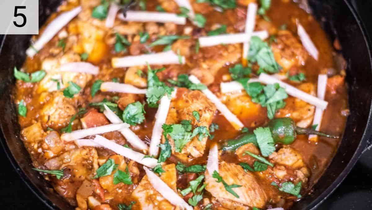 chicken karahi cooked in skillet