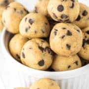 raw cookie dough treats in ramekin