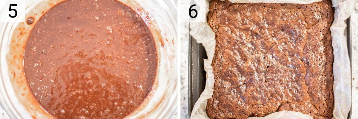 mixing dry ingredients with wet ingredients in bowl and baking brownies in pan