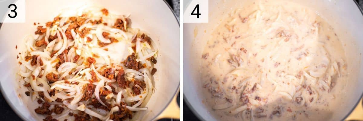 process shots of cooking sun-dried tomatoes and garlic with onions and then adding hummus