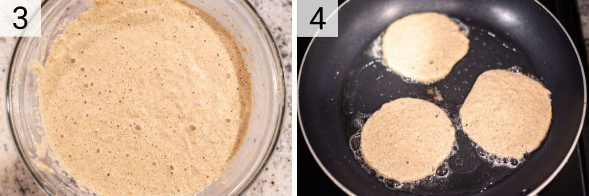 process shots of mixing wet ingredients with dry ingredients and adding batter to pan