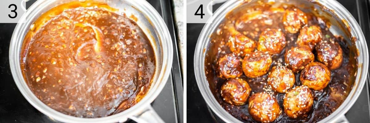 process shots of making teriyaki sauce in skillet and tossing meatballs in it