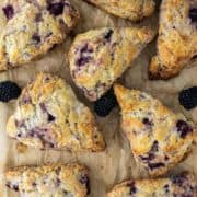 overhead shot of scones on parchment paper