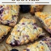 blackberry scones on parchment paper