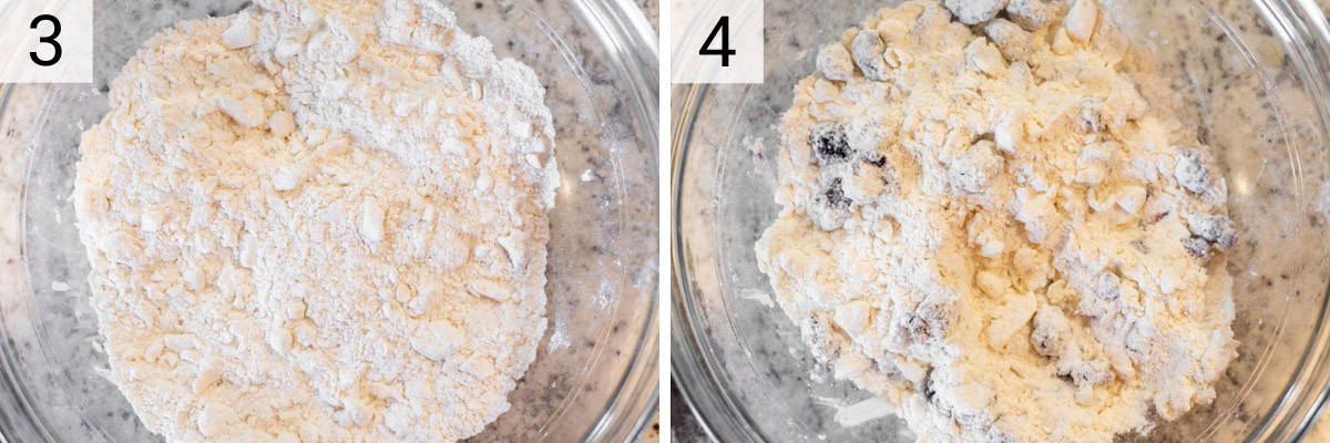 process shots of mixing butter with dry ingredients in a bowl and then folding in blackberries