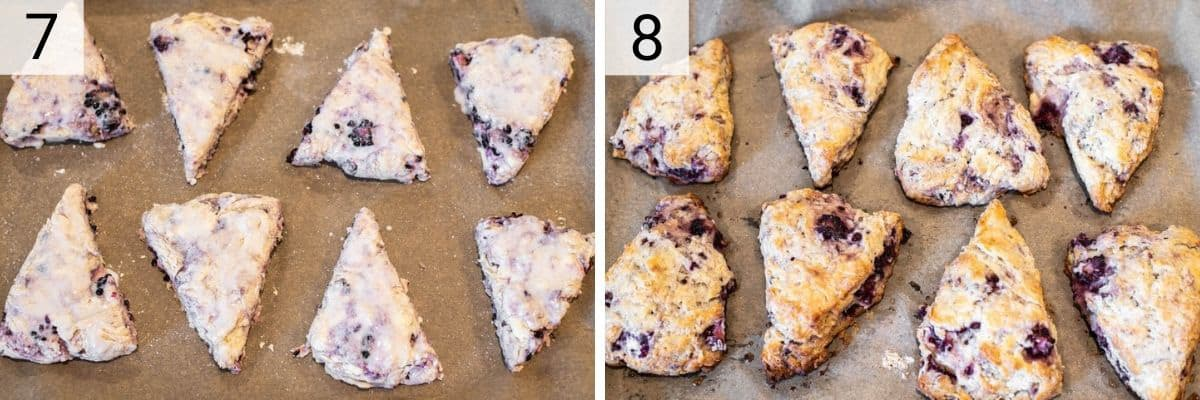 process shots of placing scones on baking sheet and baking