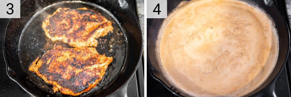 process shots of cooking chicken in skillet and making alfredo sauce