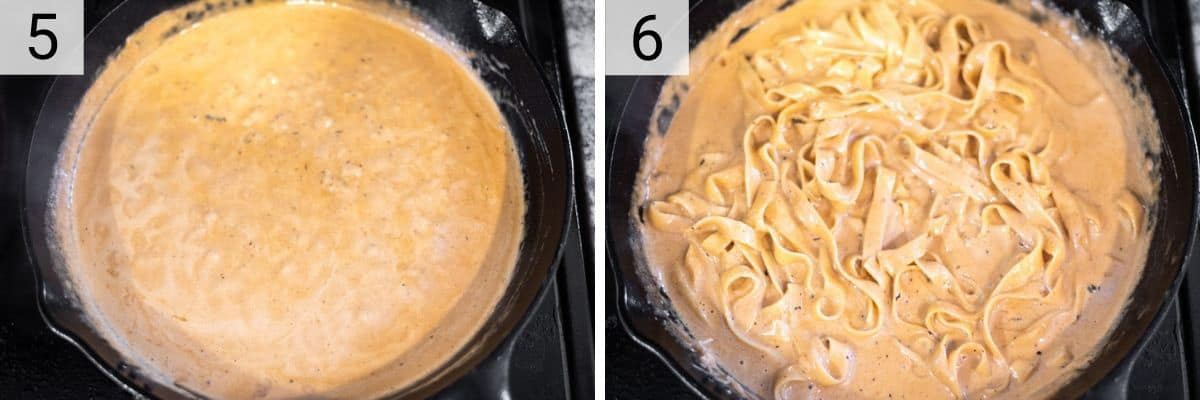 process shots of making alfredo sauce and tossing pasta in