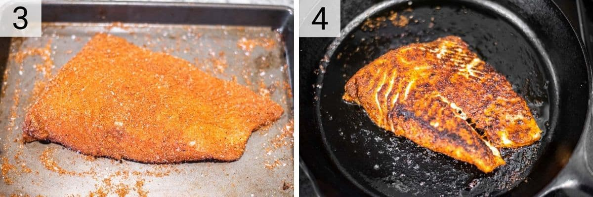 process shots of rubbing spice on halibut and cooked in skillet