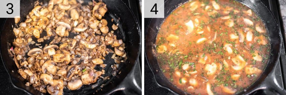process shots of cooking mushrooms, shallots and garlic and deglazing with wine, cognac and chicken stock