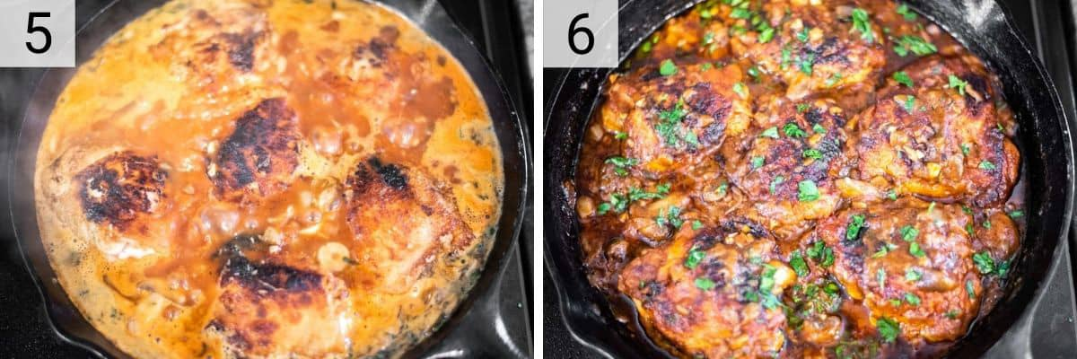 process shots of simmering chicken in sauce
