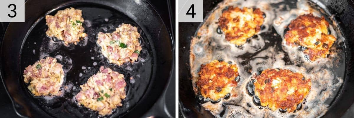 process shots of cooking chicken patties in skillet