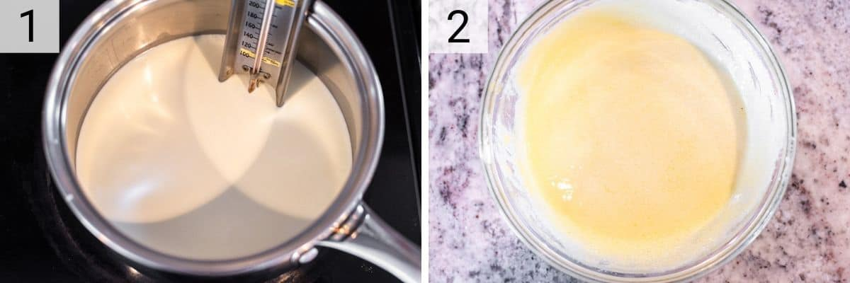 process shots of heating cream and milk in pot and mixing egg yolks with sugar in bowl