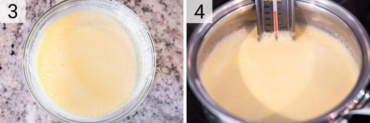 process shots of tempering egg yolks with hot cream mixture and adding back to saucepan
