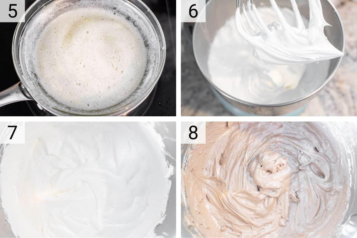 process shots of making a chocolate swiss meringue buttercream