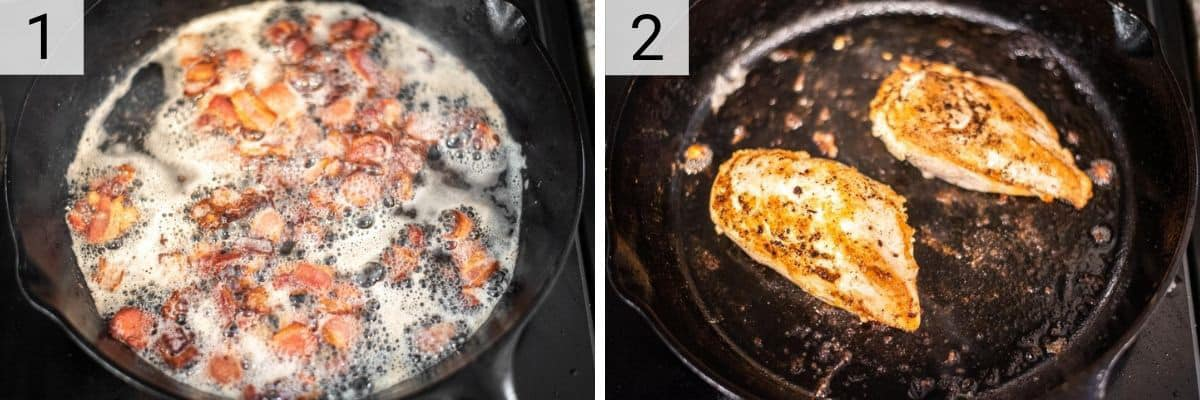 process shots of cooking bacon and chicken in skillet