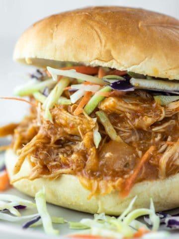 BBQ chicken sandwich on plate
