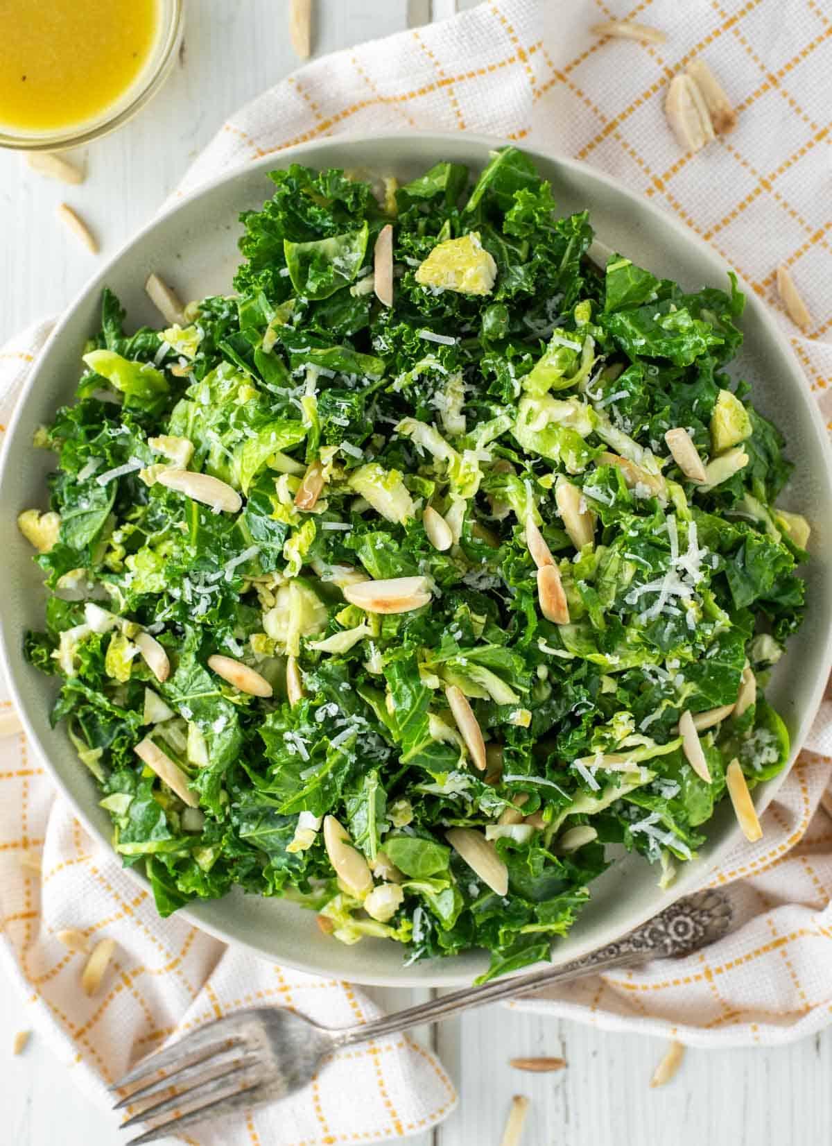 overhead shot of kale crunch salad on plate