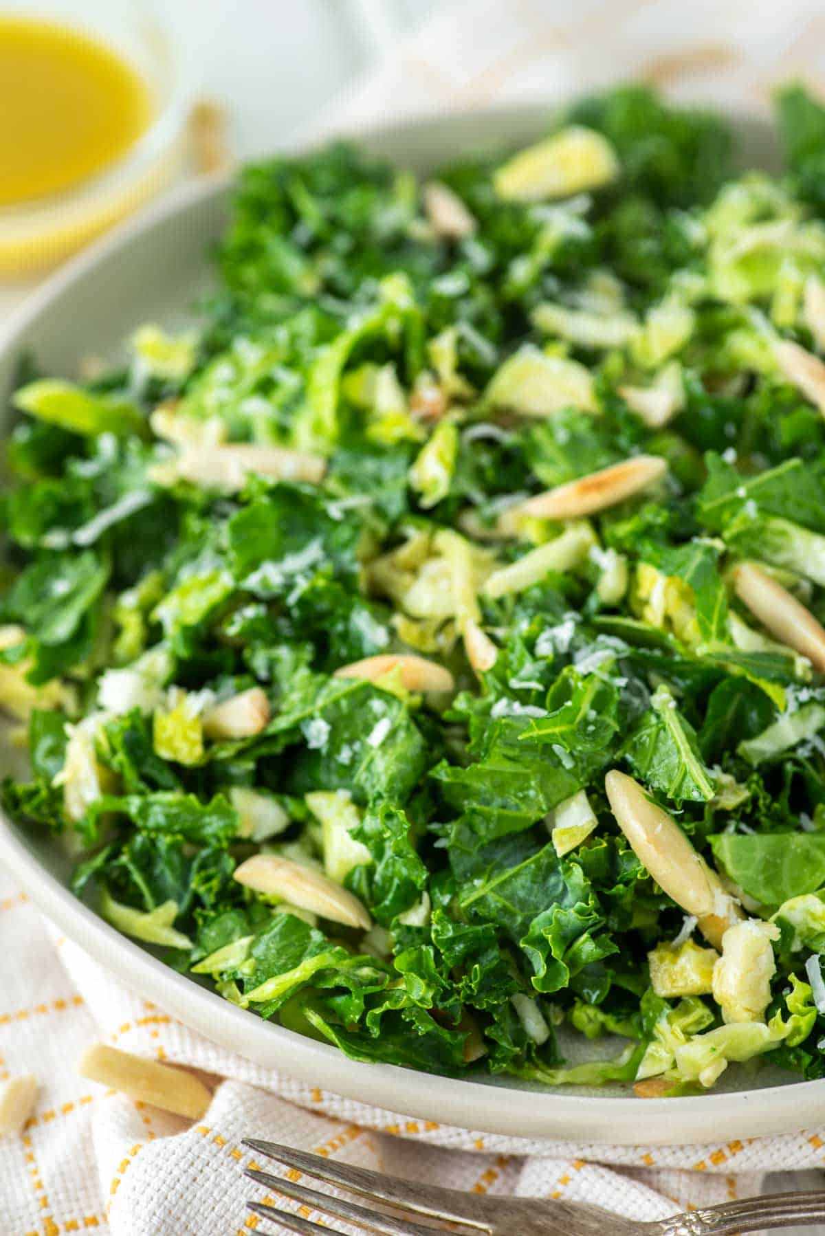 close-up of kale crunch salad on plate