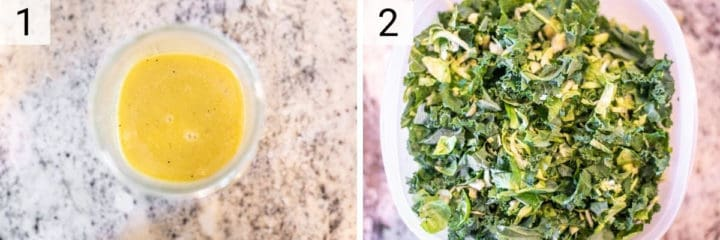 process shots of making vinaigrette and tossing together kale and Brussels sprouts