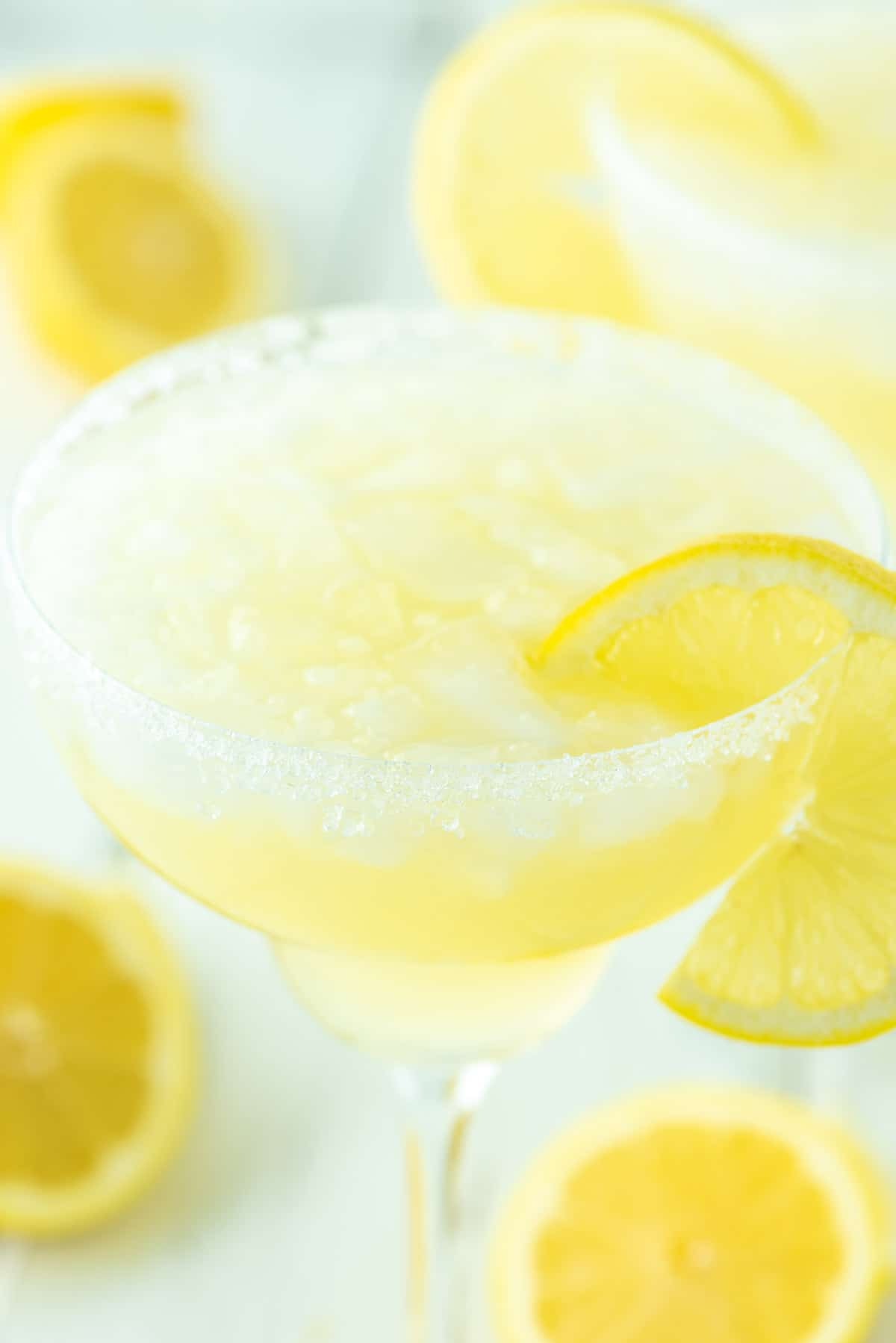 lemon margarita with ice in glass