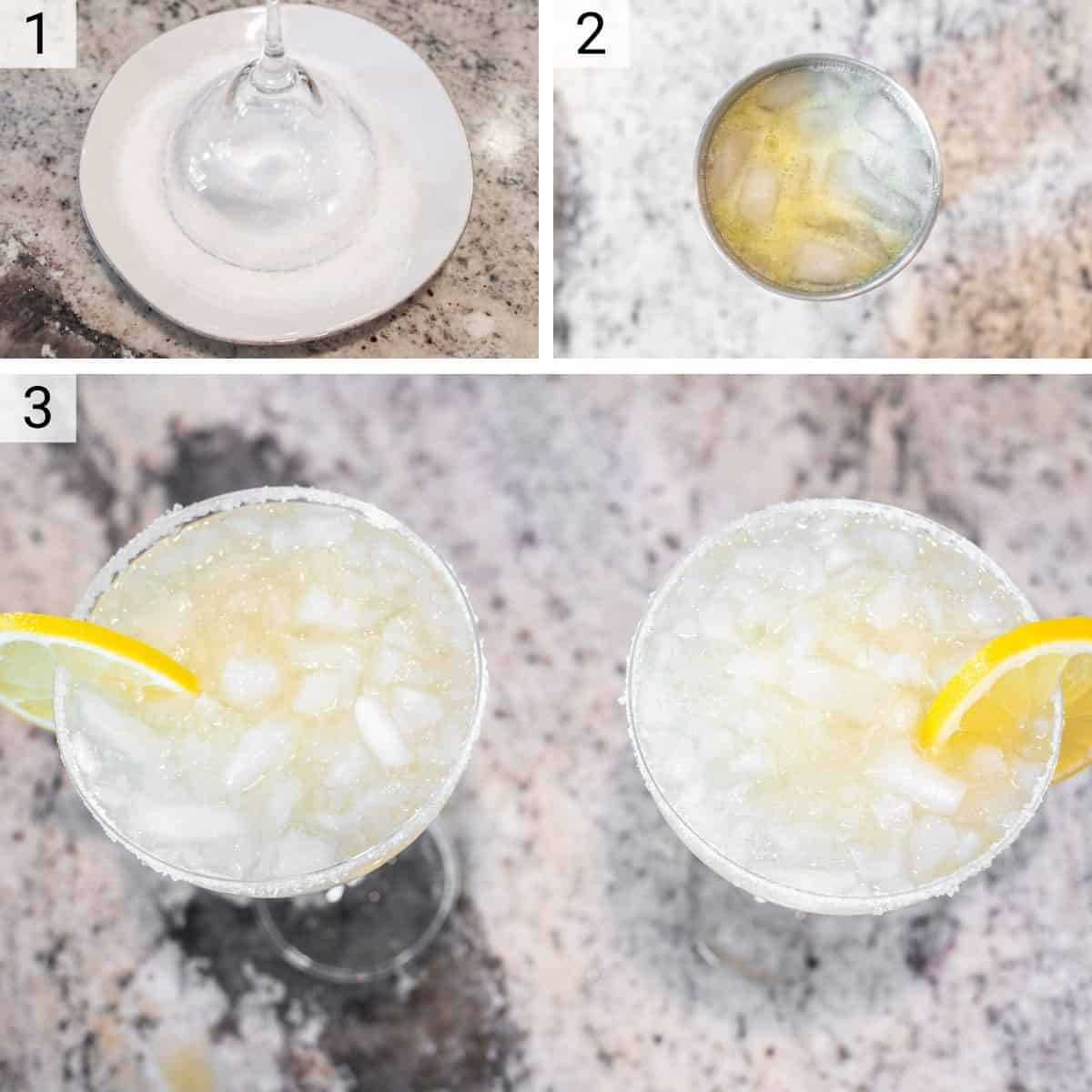 process shots of how to make lemon margaritas