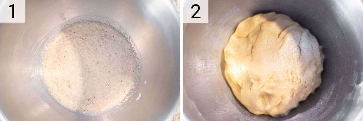 process shots of adding yeast to milk and then mixing in the rest of the ingredients