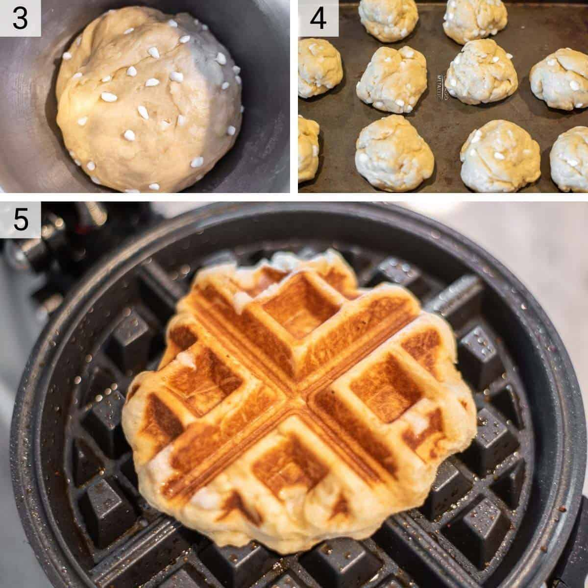 process shots of mixing in pearl sugar and cooking waffles
