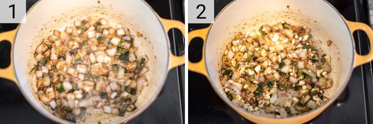 process shots of sauteing veggies and spices in Dutch oven