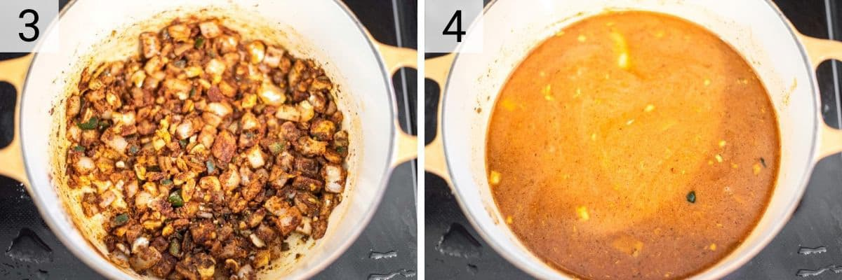 process shots of adding spices and stock to Dutch oven