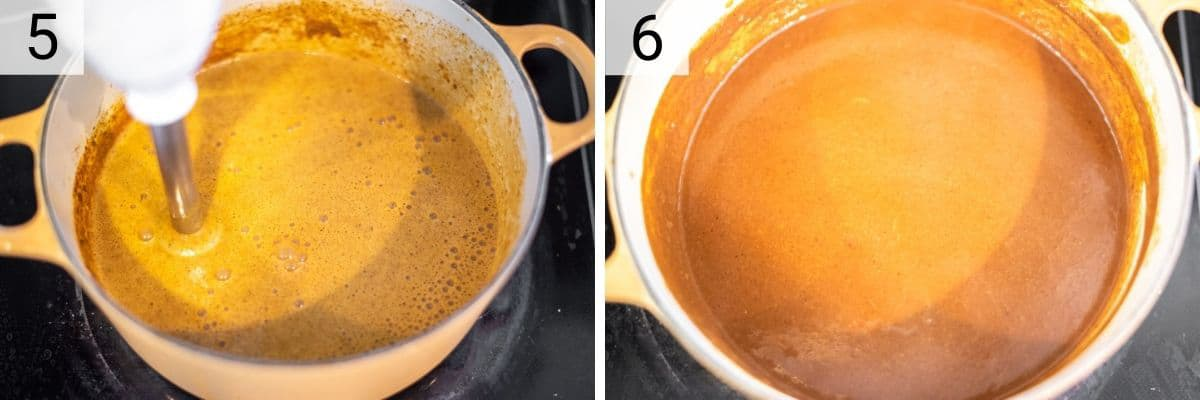 process shots of using immersion blender to blend the mole sauce until smooth in Dutch oven before adding chocolate, almond butter and tomato paste