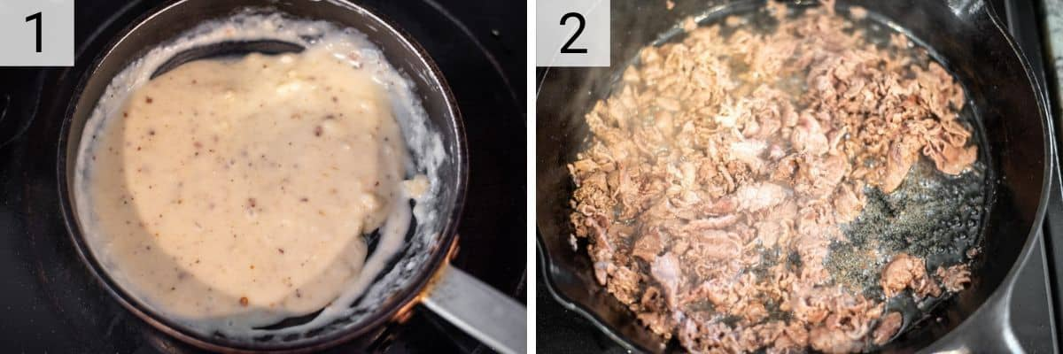 process shots of making cheese sauce and cooking ribeye in skillet