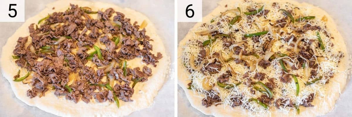 process shots of adding steak, pepper, onion and cheese on top of pizza