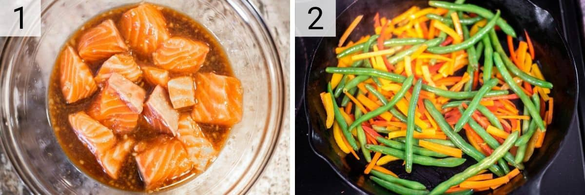 process shots of marinating salmon and cooking veggies in skillet