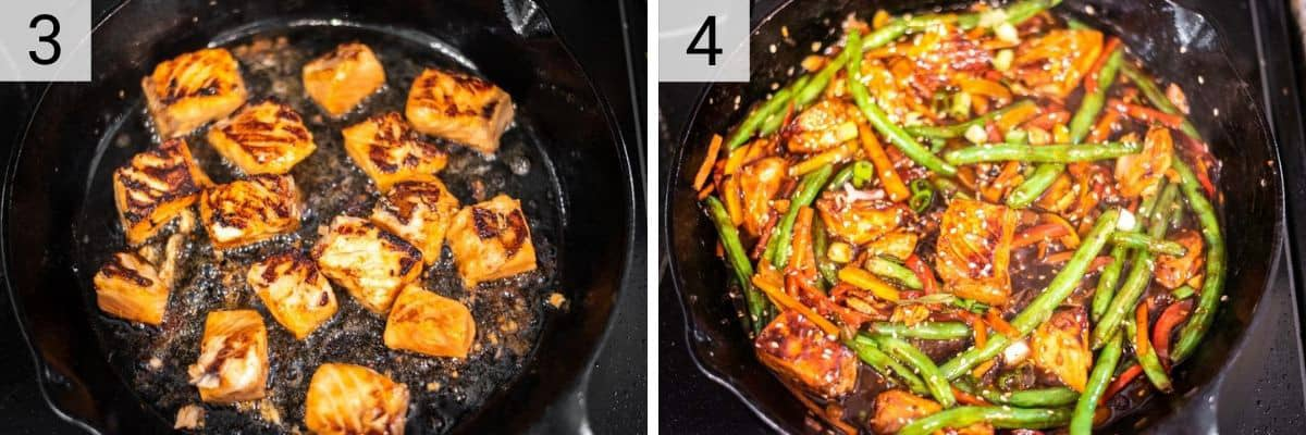 process shots of cooking salmon and then cooking salmon and tossing in veggies