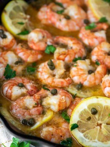 shrimp piccata in cast iron skillet