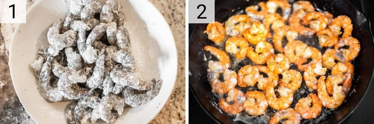 process shots of tossing shrimp with cornstarch and then cooking in skillet