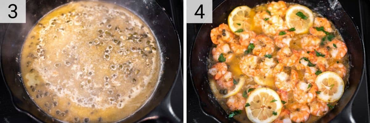 process shots of making lemon sauce and tossing shrimp in to coat