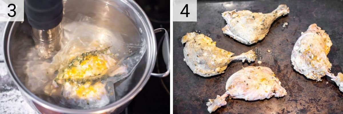 process shots of cooking duck in water bath with sous vide and removing everything off skin after cooked
