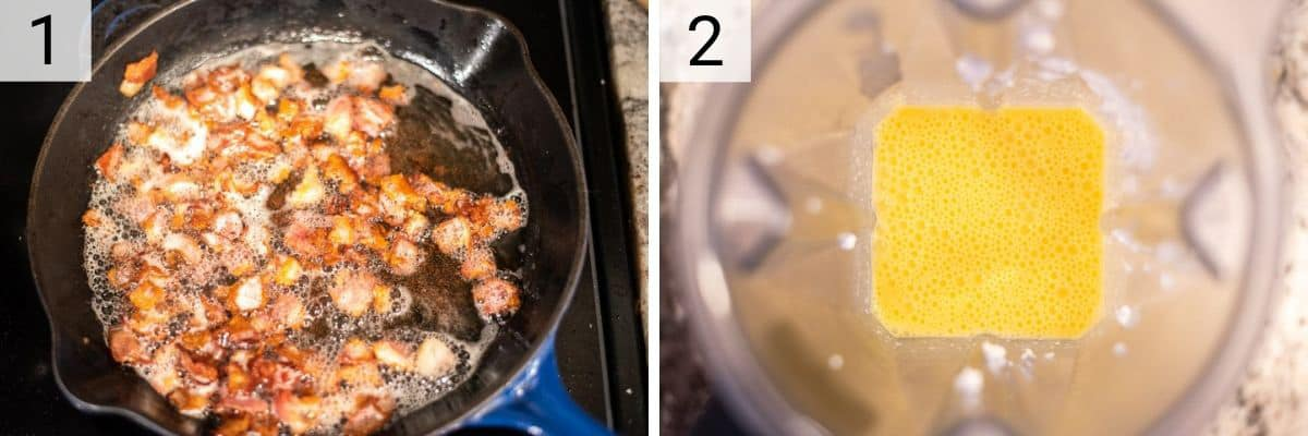 process shots of cooking bacon and blending egg bite ingredients